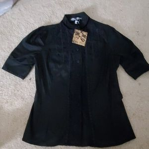 Steampunk victorian black blouse spin doctor